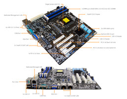 3HE Intel Single-CPU RI1316 Server - Mainboardbeschriftung Asus